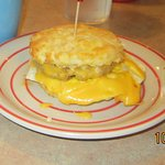 Sausage egg and cheese on a home made biscuit. Huge and delicious!