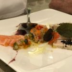 Mussel, chicken, salmon tapas