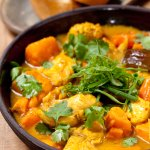 Chunks of chicken breast, carrot, sweet potato, eggplant and onion, cooked in a homemade curry a