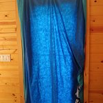 Make shift curtain to cover the door from people seeing and and the hot sun