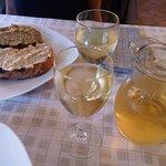 Bruschetta con crema di carciofi & Bruschetta con crema di olive verdi and wine