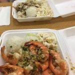 Kalua pork and Garlic shrimp meals