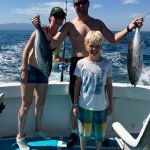 Tuna fishing action with family
