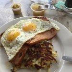 Leberkaese w/eggs and some sort of potato pancake (don't recommend the pancake)