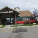 Trolley and visitors center.