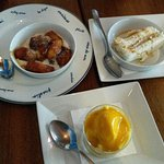 bananes flambees, gateau coco, mousse mangue