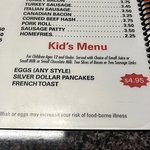 Long Neck Diner kids breakfast menu