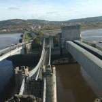 The magnificent Conwy Suspension bridge is in between two other bridges