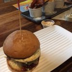 Almighty Burger with shared chips plate
