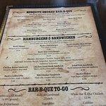 Bucks menu, house salad, and hamburger steak