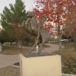 Statue with Fall Leaves, Albuquerque Museum