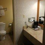 Separate coffee & closet area from bathroom