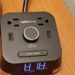 2 outlets and 2 USB charging ports in alarm clock. Check to see if alarm set...