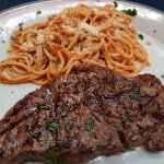 Grilled steak with Spaghetti