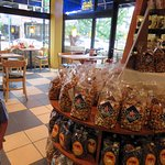 popcorn & candy store displays at the Chocolate Cafe