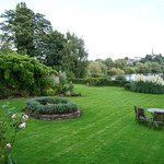 Large garden overlooking the River Wye with Ross-on-Wye in the distance