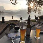 Beer on Lake Bled at sunset