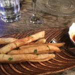 Deep fried Pitta slices with Braai dipping sauce - yummy!