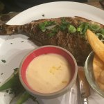 Sea Bream with triple-cooked chips and a lovely garlic/lemon sauce