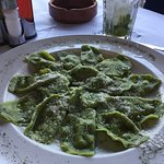 spinach raviolis - beautiful but a little bland