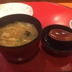 Miso soup that came with the lunch order.