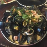 Mussels cooked in smoked bacon and Devon Red cider (customer photo).