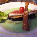 Plat - Filet de rouget, aubergines et crème au basilic