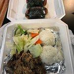 Pork Kalua with cabbage, spam masubi.