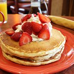 Strawberry & whipped cream pancakes