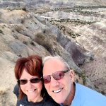 Amazing badlands with Angel Peak in the background
