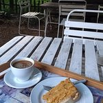 carrot cake and americano on the back patio