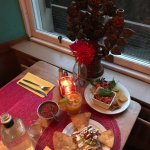 My food and drink at the table with the window view