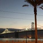 view of the bridge at dawn