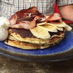 Buttermilk Pancakes with Banana and Bacon (add 2 eggs)