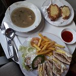 Room service - Malay chicken soup and Chicken sandwiches
