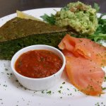 Our SPECIAL for this week....CRUSTLESS GREEN QUICHE WITH SPICY TOMATOE SAUCE, GUACAMOLE AND SMOK