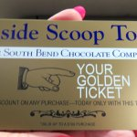 souvenir & discount golden ticket from South Bend Chocolate Company
