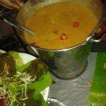 Sambar served with rice for Sadya (lunch).
