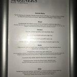 The Mariners Pub, Rock - a la carte menu Nov 2017