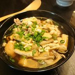 Home-made Udon from scratch with pork, mushroom and fried tofu.