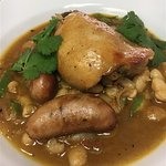 Chicken cassoulet with smoky beans.