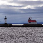 lighthouses at harbor entrance
