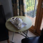 Working area table to have tea and watch the view