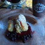 Chef Ludger Szmania's apple fritters with blueberry compote -- yum!