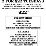 A tremendous early week dinner special at the Pub.