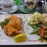 open face salmon on Irish, salad and tea