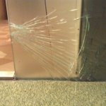 Other side of shattered glass wall