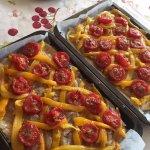 Roasted tomato, yellow pepper, carmelized onion tart - YUM!