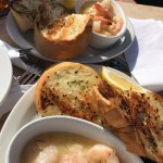 Garlic prawns and garlic toast, Osborne Bay Pub 1534 Joan Avenue, Crofton, British Columbia