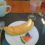 Fresh fruit and a smoothie were part of each morning's breakfast